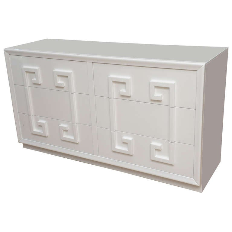 kittinger style white lacquered wood greek key dresser at