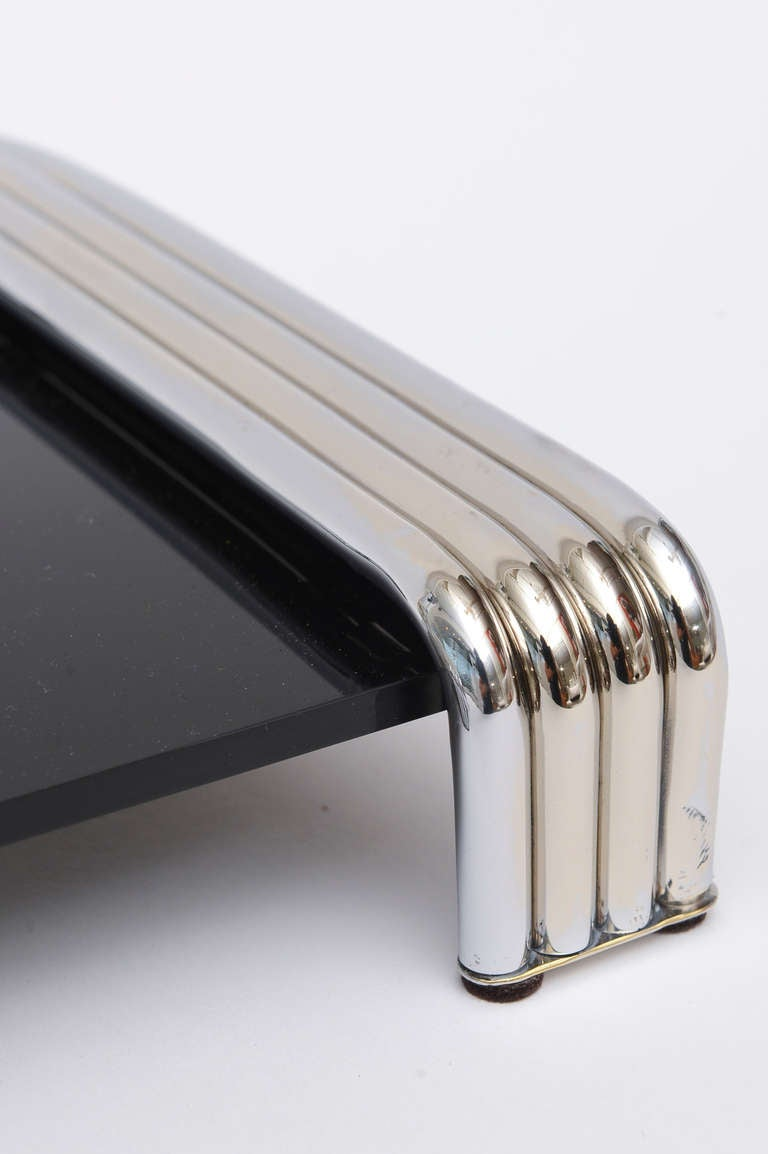 Black Lucite And Polished Chrome Deco Meets Moderne Inspired Tray At 1stdibs