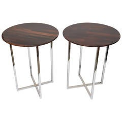 Pair of Milo Baughman Polished Chrome and Wood Side Tables
