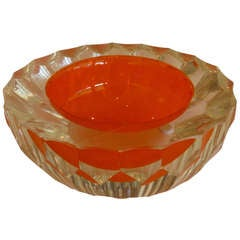 Italian Murano Diamond Faceted Clear&Hermes Orange Glass Bowl