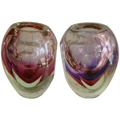 Pair of Murano Flavio Poli Sommerso Glass Vases/Vessels/SAT.SALE