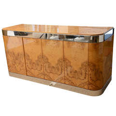 Exquisite Burled Wood and Stainless Steel Pace Cabinet, Credenza or Buffet