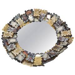 Silas Seandel Sculptural Brutalist Mixed Metal Round Jigsaw Puzzle Mirror
