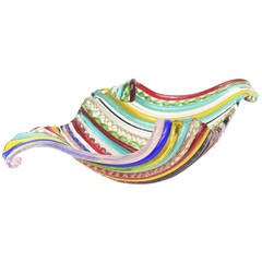 Italian Murano Vintage Galliano Ferro Fused Cane Multicolored Glass Bowl