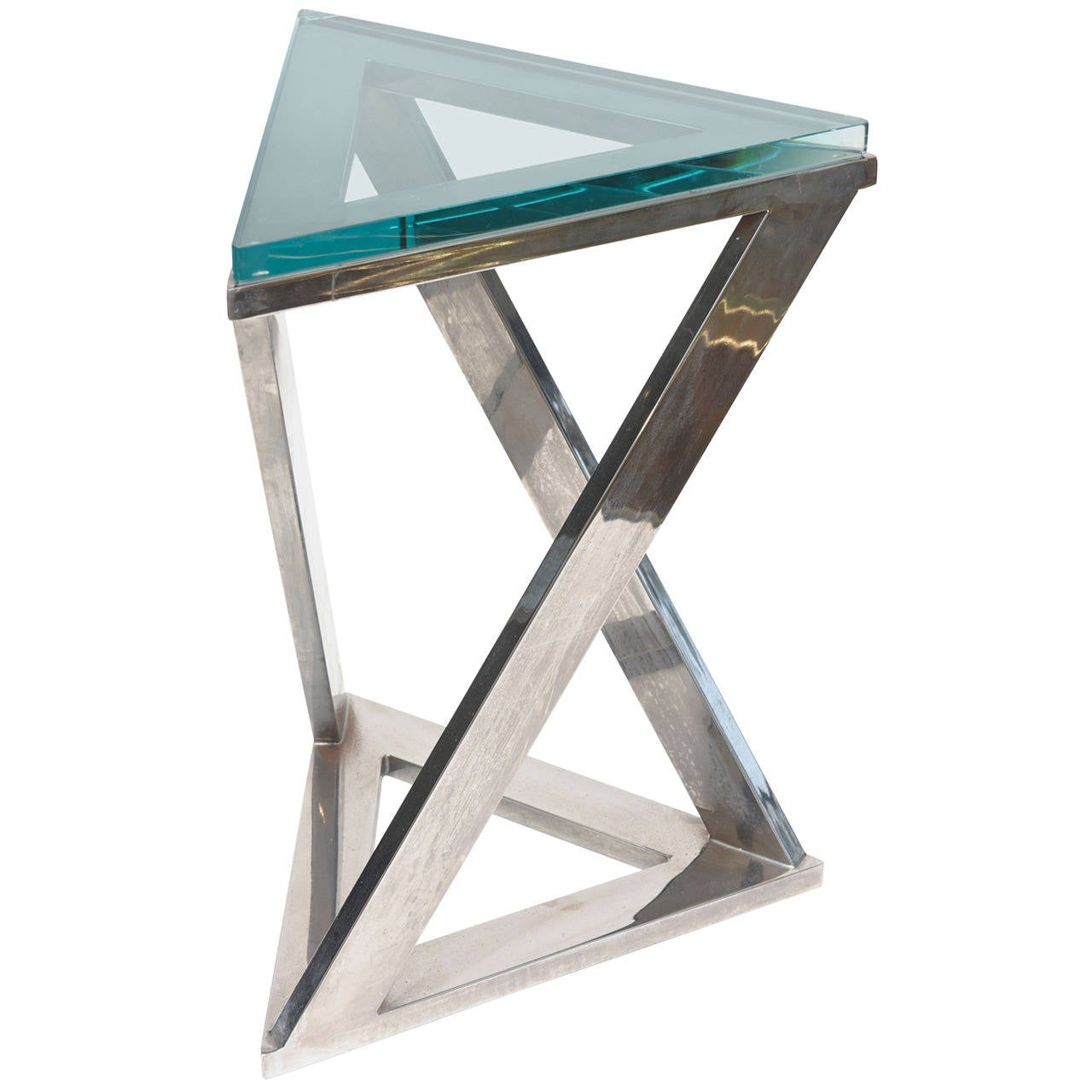 sculptural triangle pace side or drink table with triangle green  - sculptural triangle pace side or drink table with triangle green glass