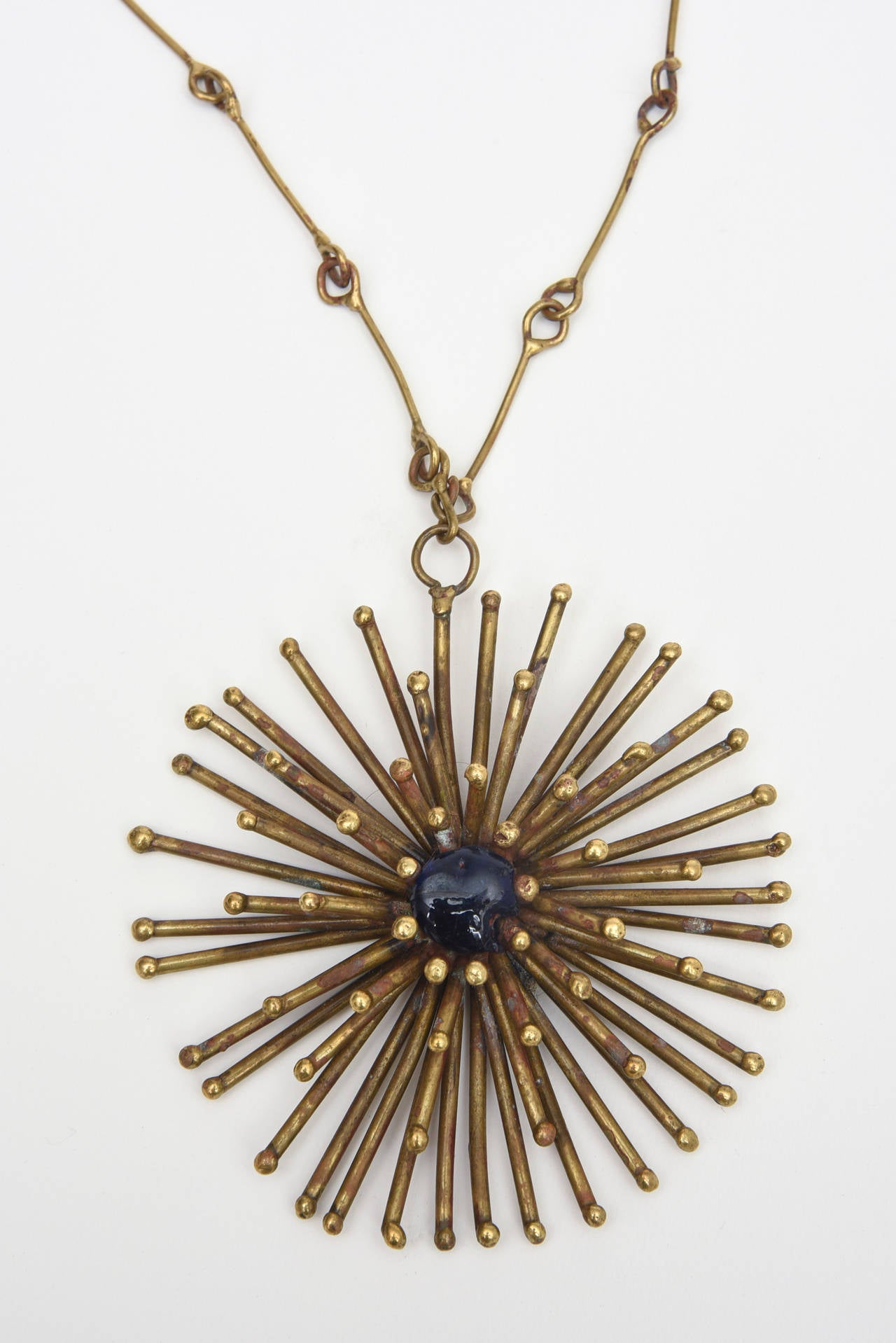 Bronze Hand Wrought Sculptural Starburst Medallion and Blue Stone Necklace /SALE 2