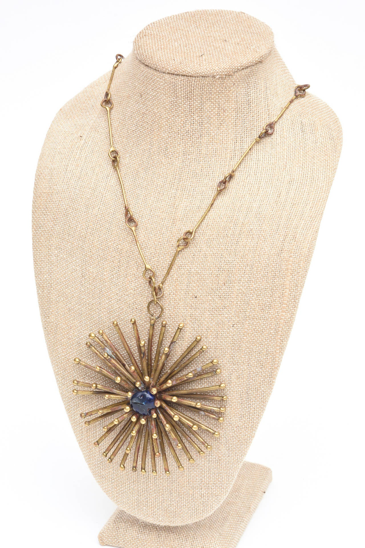 Bronze Hand Wrought Sculptural Starburst Medallion and Blue Stone Necklace /SALE 7