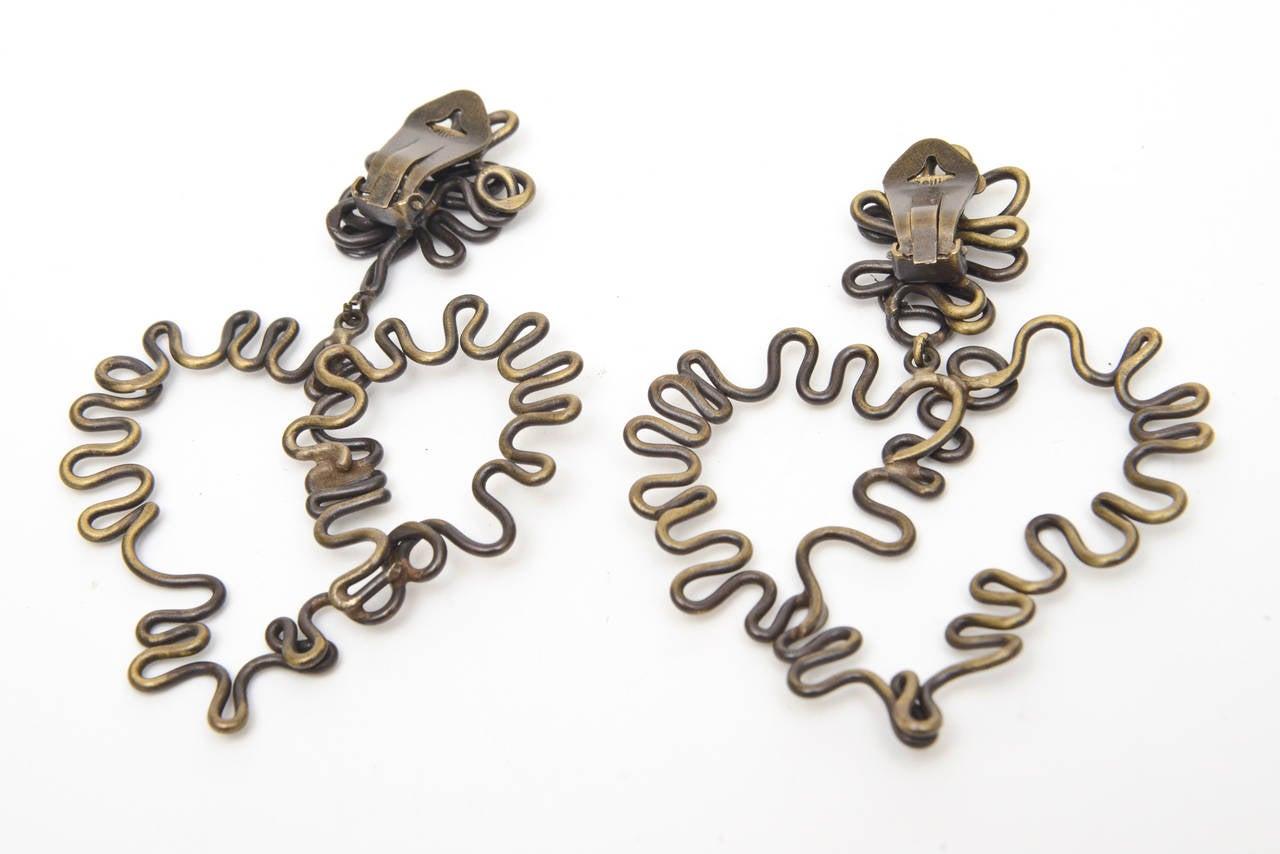 Brass Studio Sculptural Clip On Dangle Earrings Vintage Pair Of