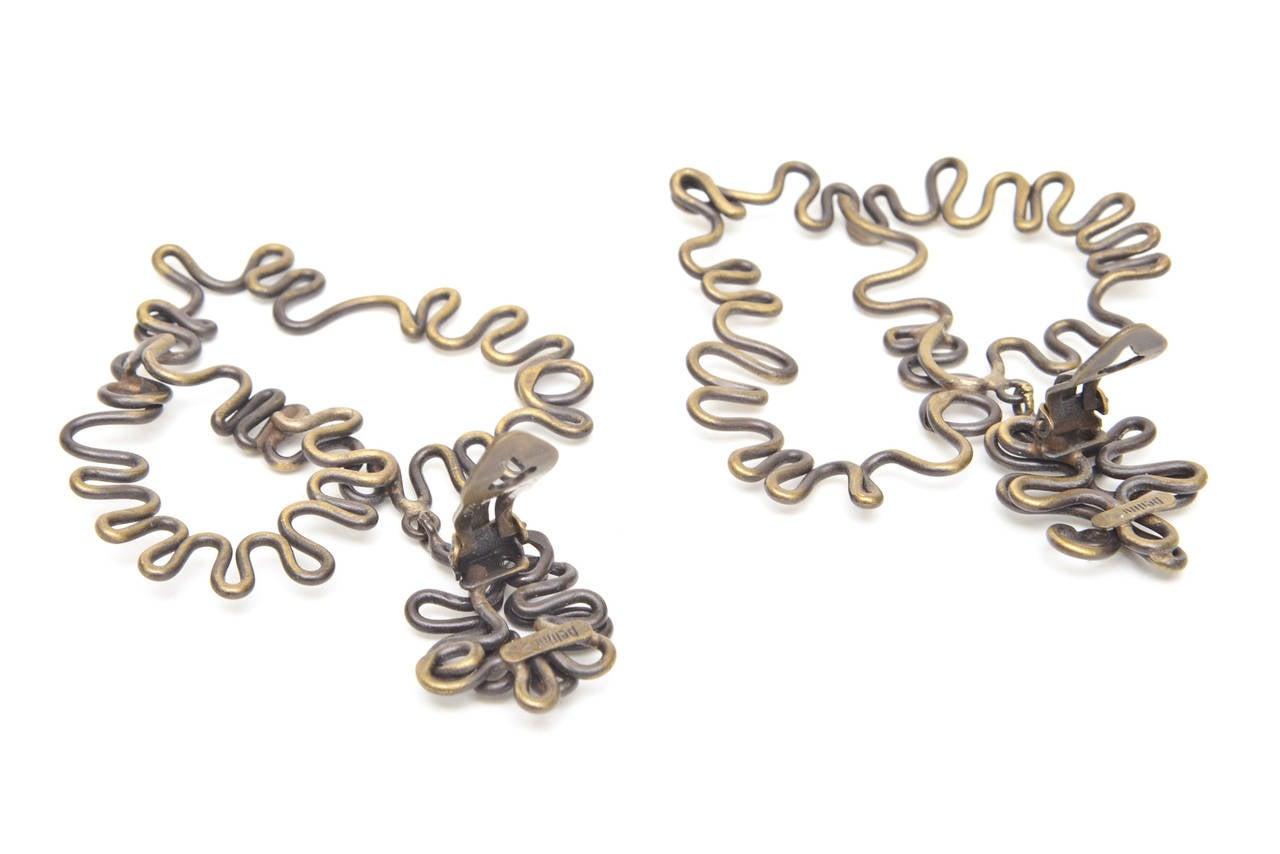 Women's  Brass Studio Sculptural Clip On Dangle Earrings Vintage  For Sale