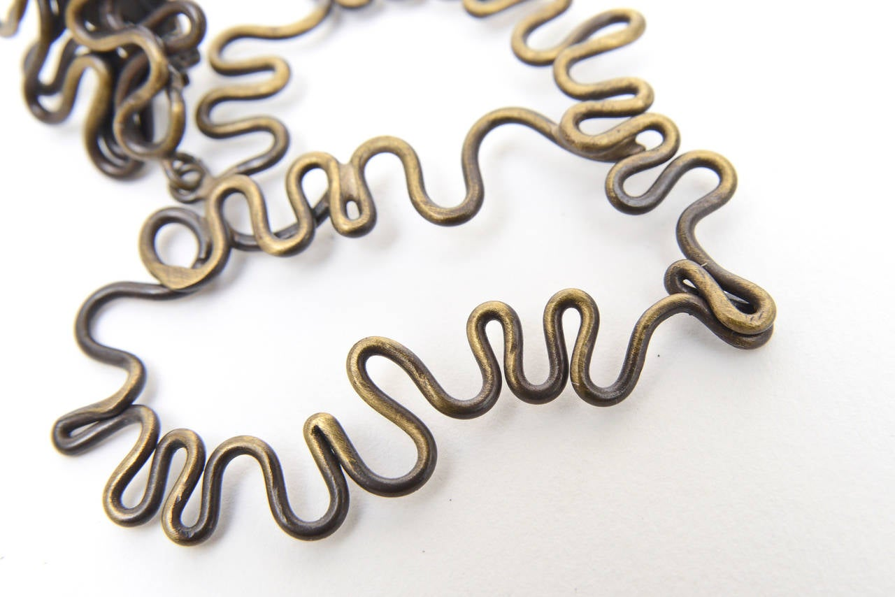 Brass Studio Sculptural Clip On Dangle Earrings Vintage  For Sale 2