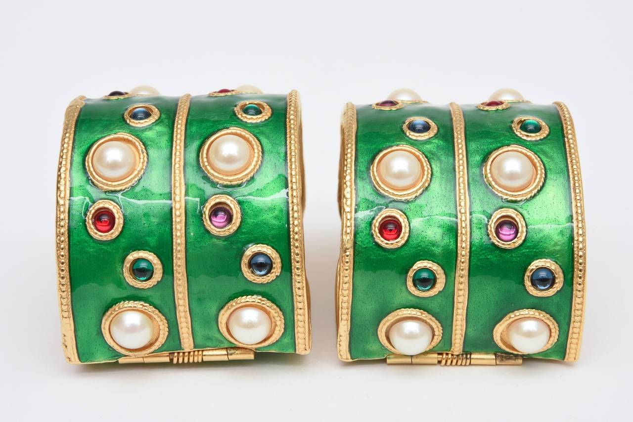 Pair of Enameled Emerald Green, Faux Pearls & Colored Stones Cuff Bracelets 2