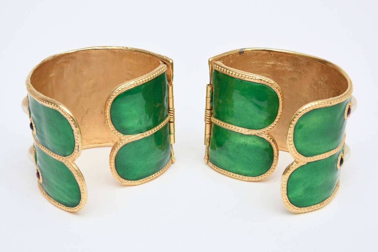 Pair of Enameled Emerald Green, Faux Pearls & Colored Stones Cuff Bracelets 4