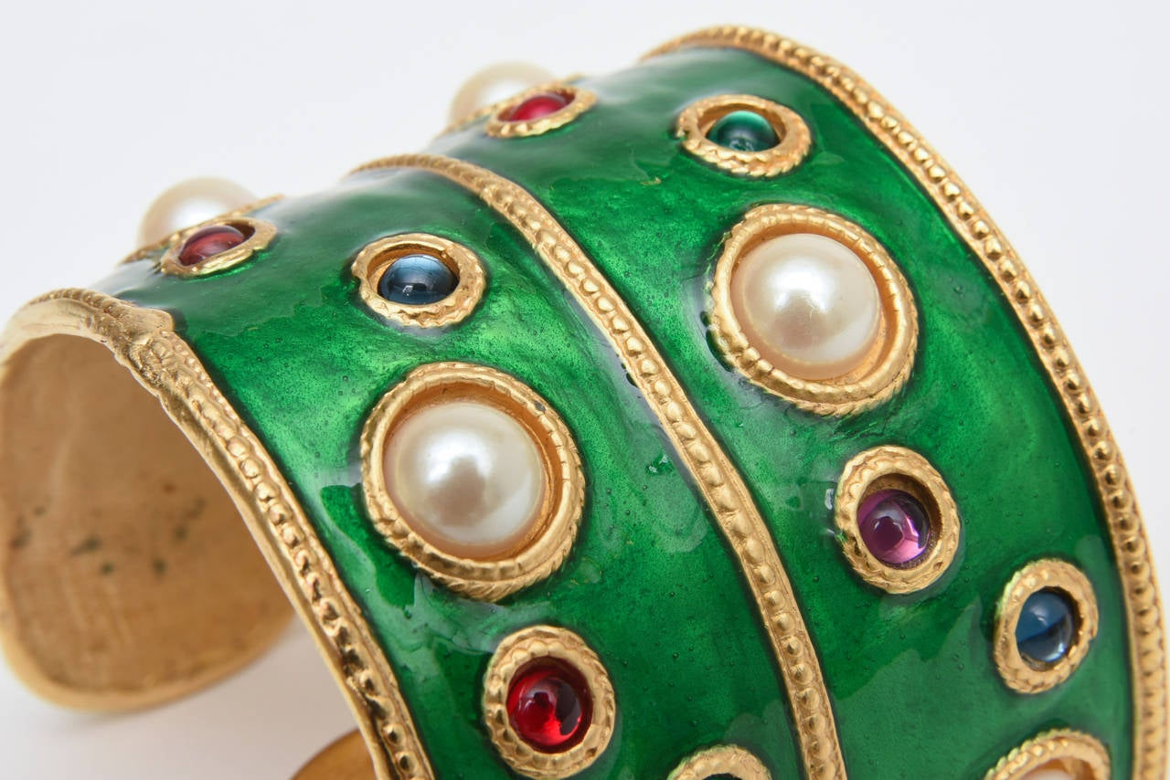 Pair of Enameled Emerald Green, Faux Pearls & Colored Stones Cuff Bracelets 6
