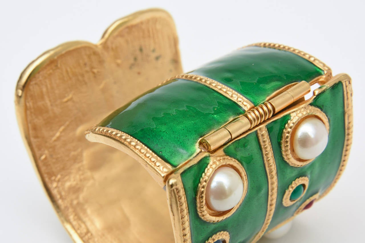 Pair of Enameled Emerald Green, Faux Pearls & Colored Stones Cuff Bracelets 7