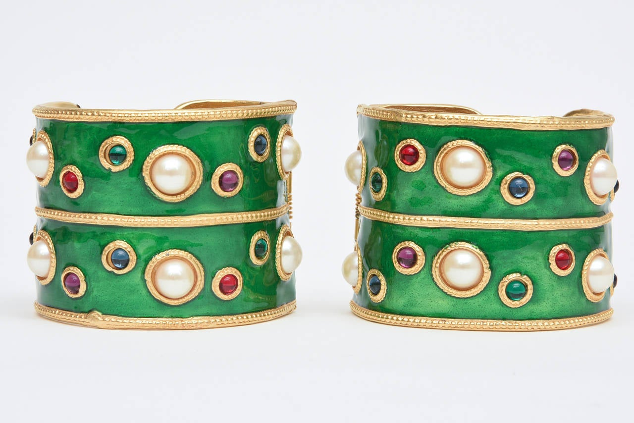Pair of Enameled Emerald Green, Faux Pearls & Colored Stones Cuff Bracelets 8