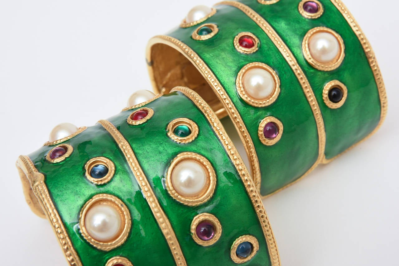 Pair of Enameled Emerald Green, Faux Pearls & Colored Stones Cuff Bracelets 10