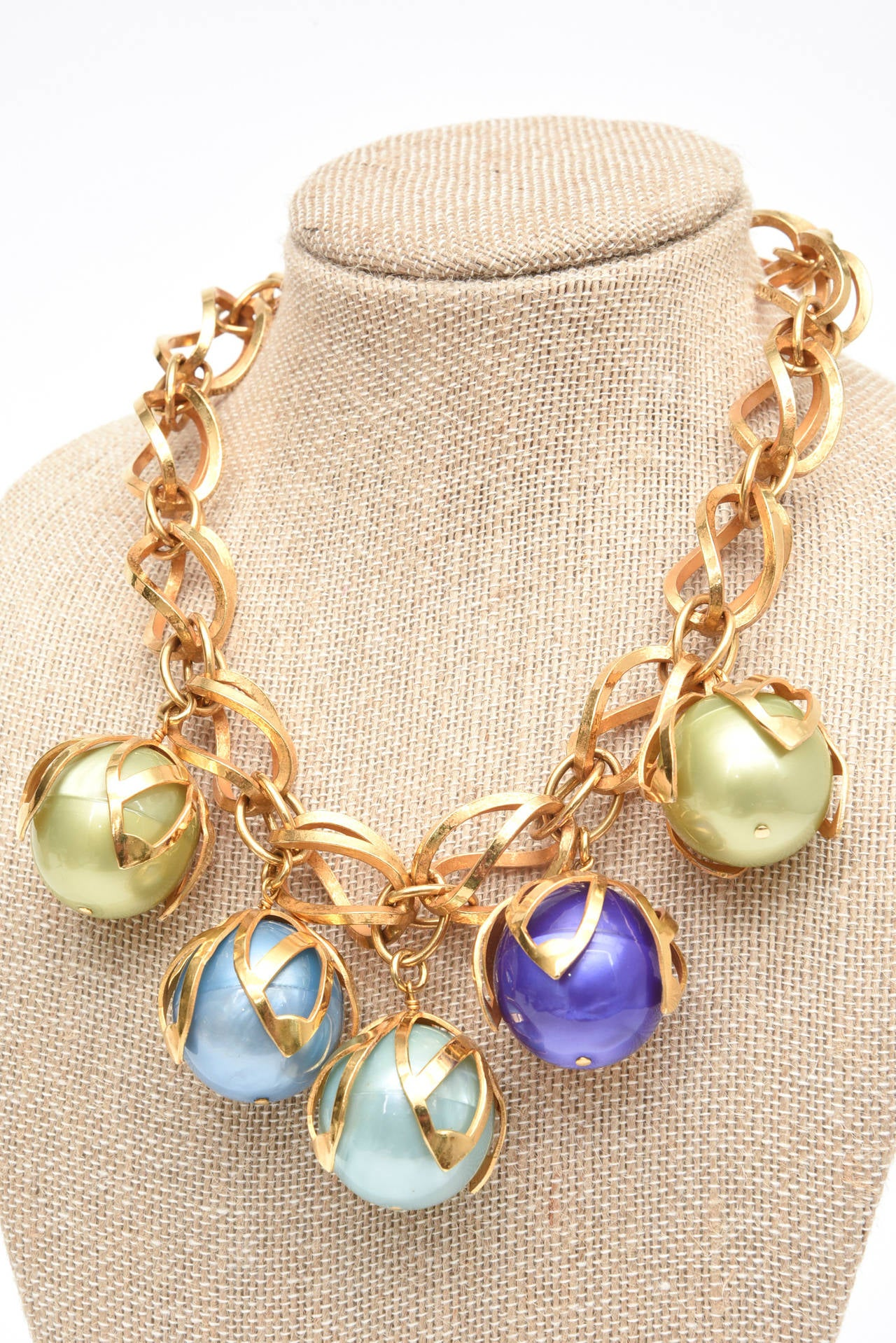 Dominique Aurientis 4 Ball French Gold Link and Resin Ball Necklace  In Excellent Condition For Sale In North Miami, FL
