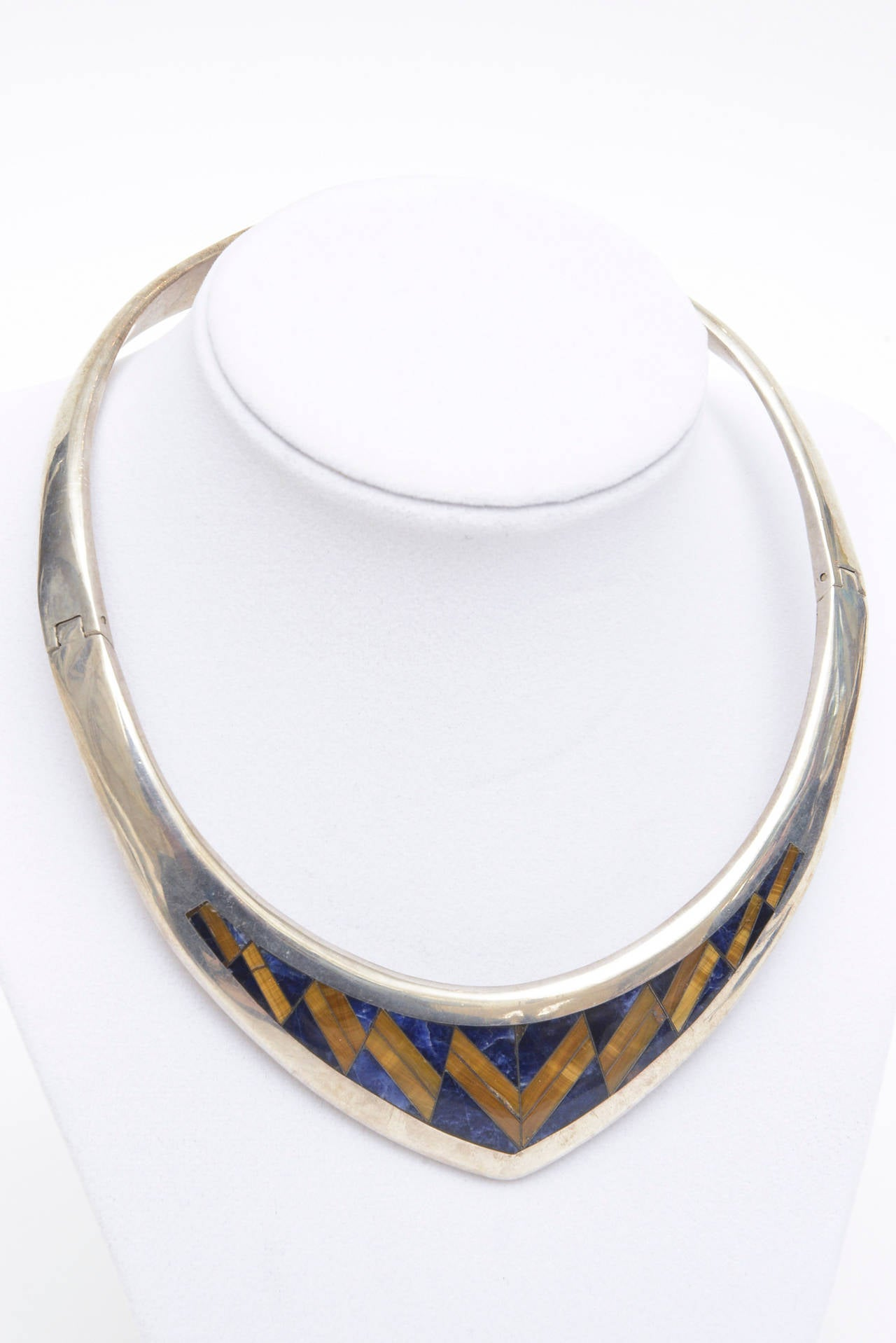 Sterling Silver, Lapis and Tiger's Eye V Collar Necklace  7