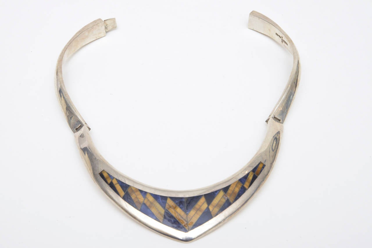 Sterling Silver, Lapis and Tiger's Eye V Collar Necklace  5