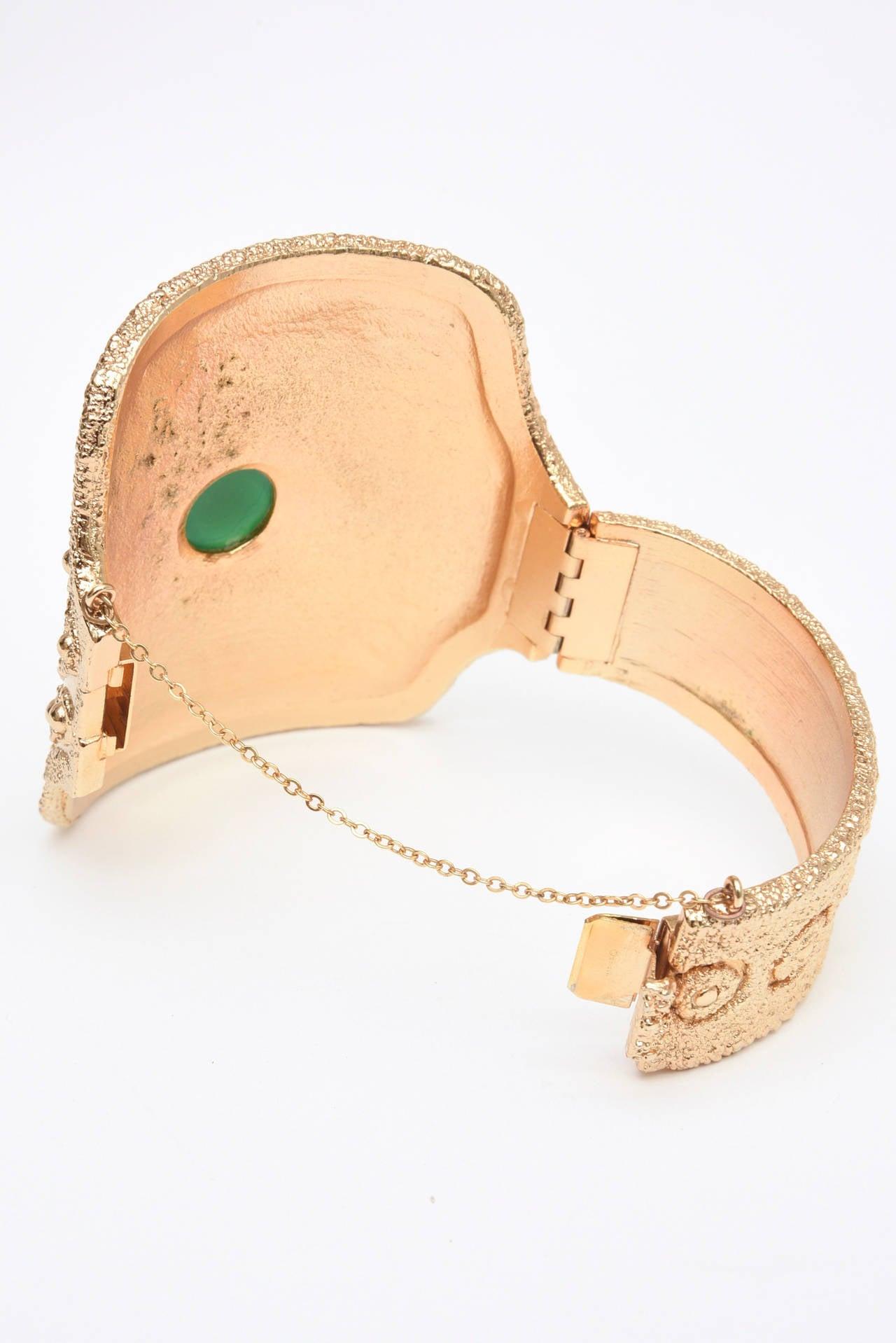 Vintage Napier Textural Gold Plated Green Glass Cuff Bracelet 6