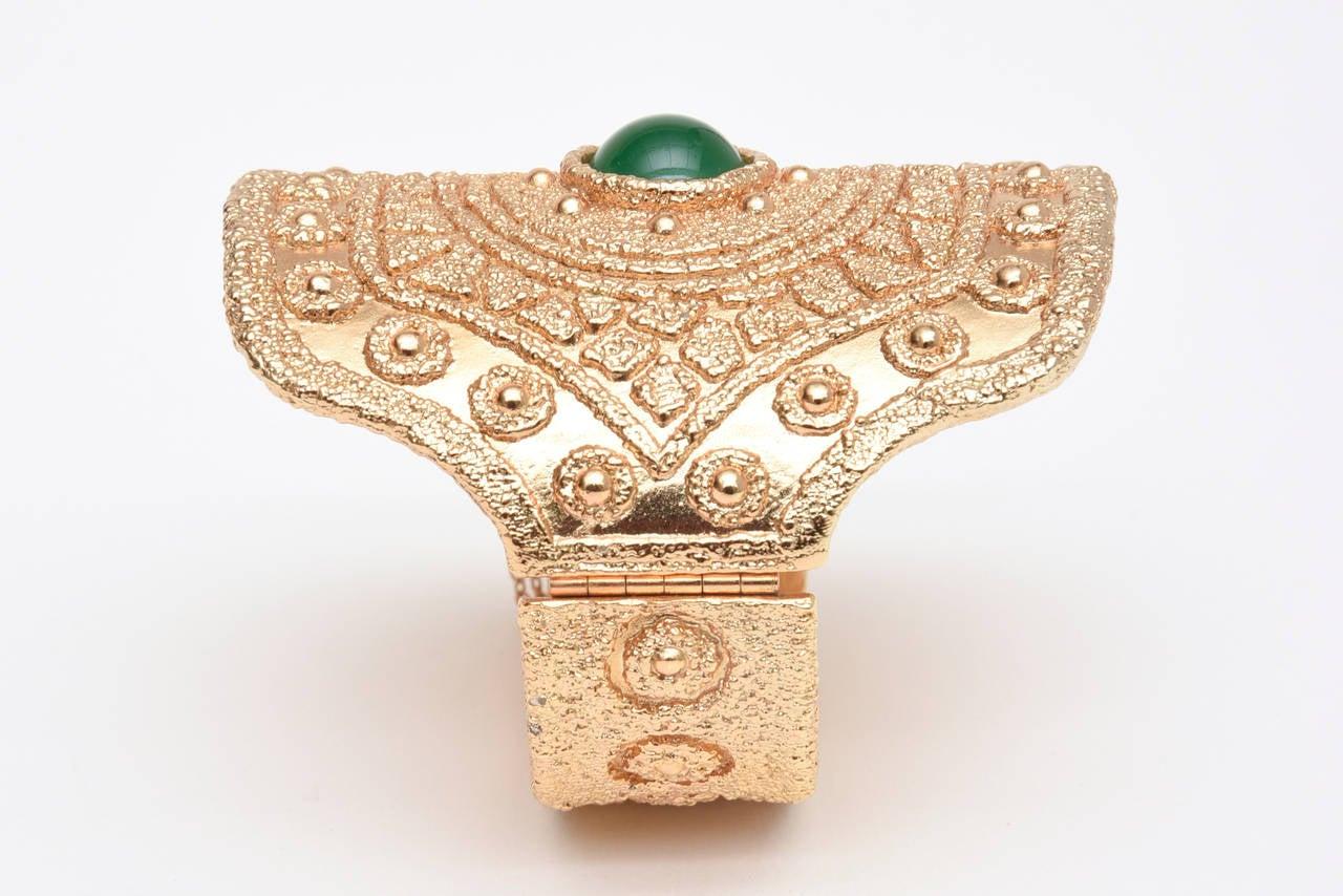 Vintage Napier Textural Gold Plated Green Glass Cuff Bracelet 9