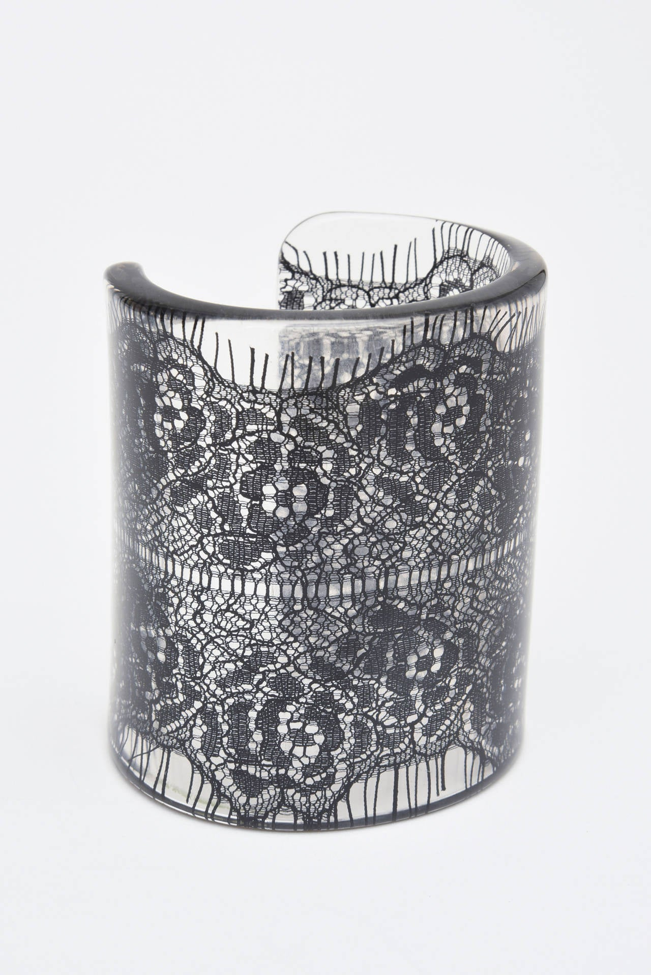 Wide French Resin Black Lace Cuff 2