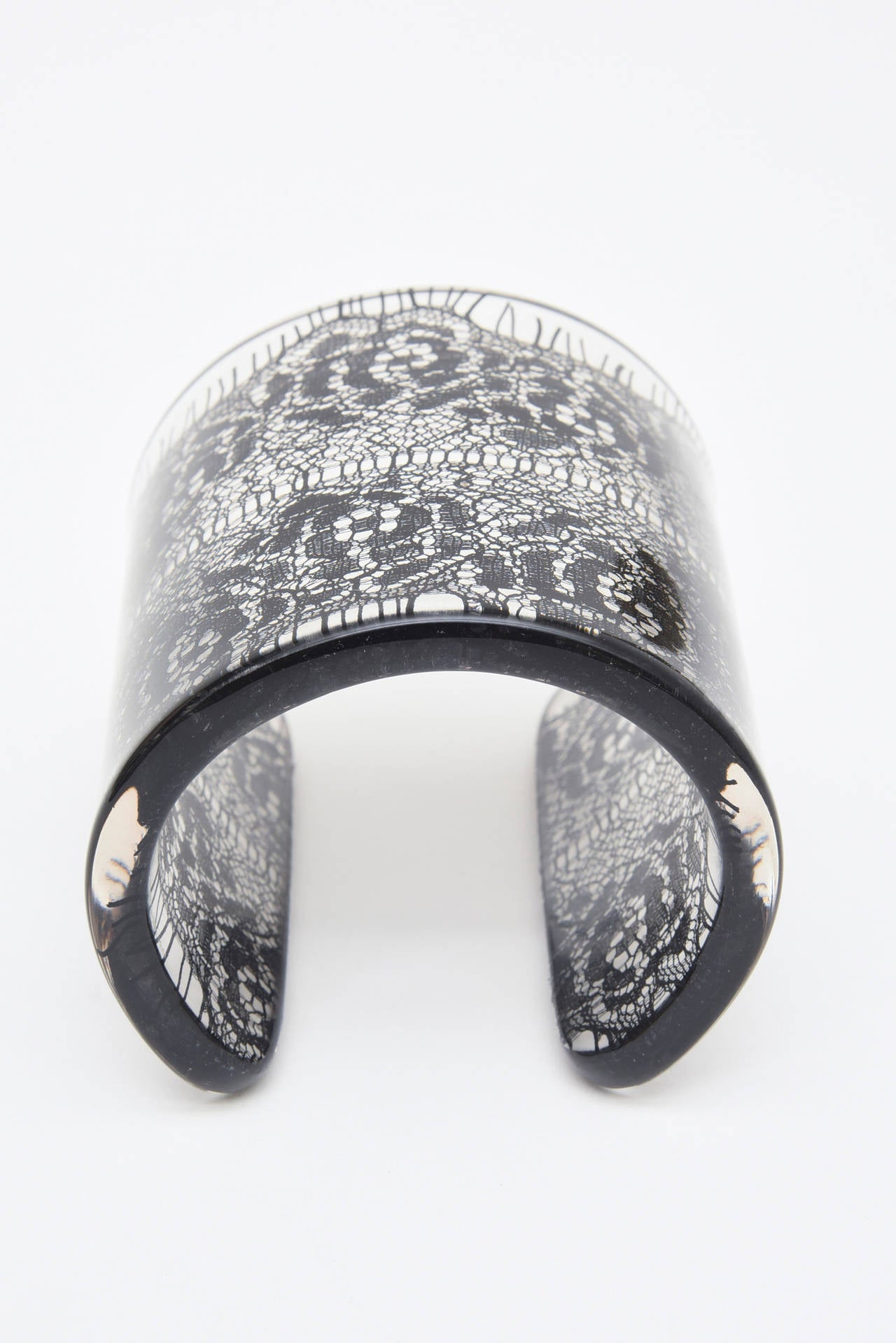 Wide French Resin Black Lace Cuff 3