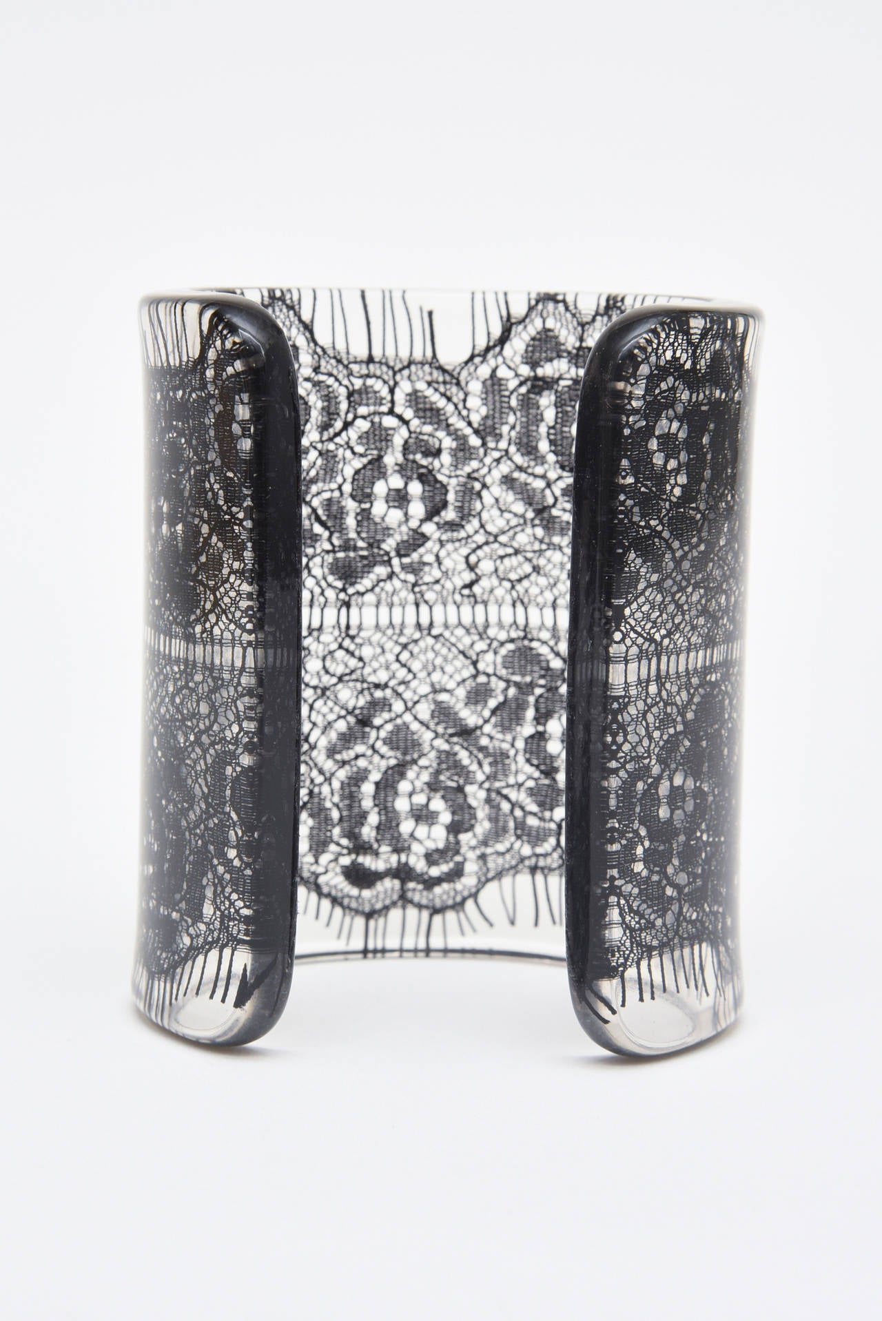 Wide French Resin Black Lace Cuff 4