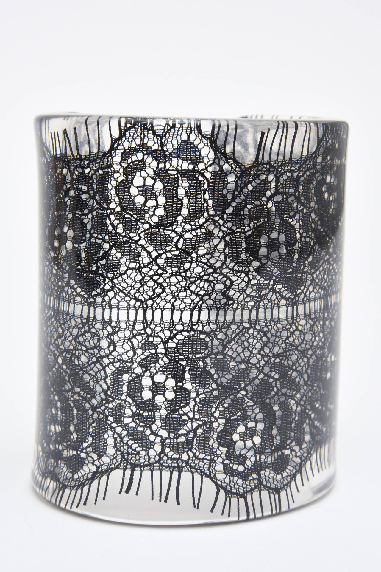 Wide French Resin Black Lace Cuff 5