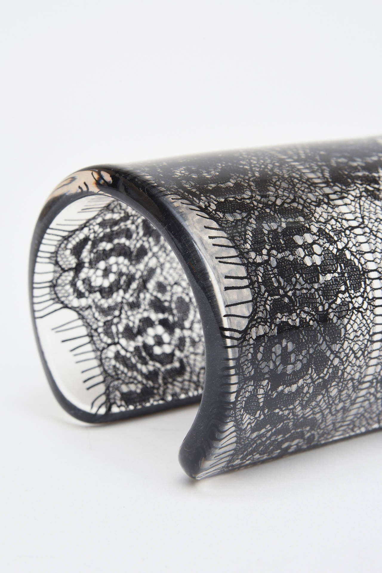 Wide French Resin Black Lace Cuff 6