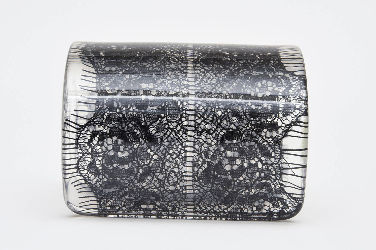 Wide French Resin Black Lace Cuff 7