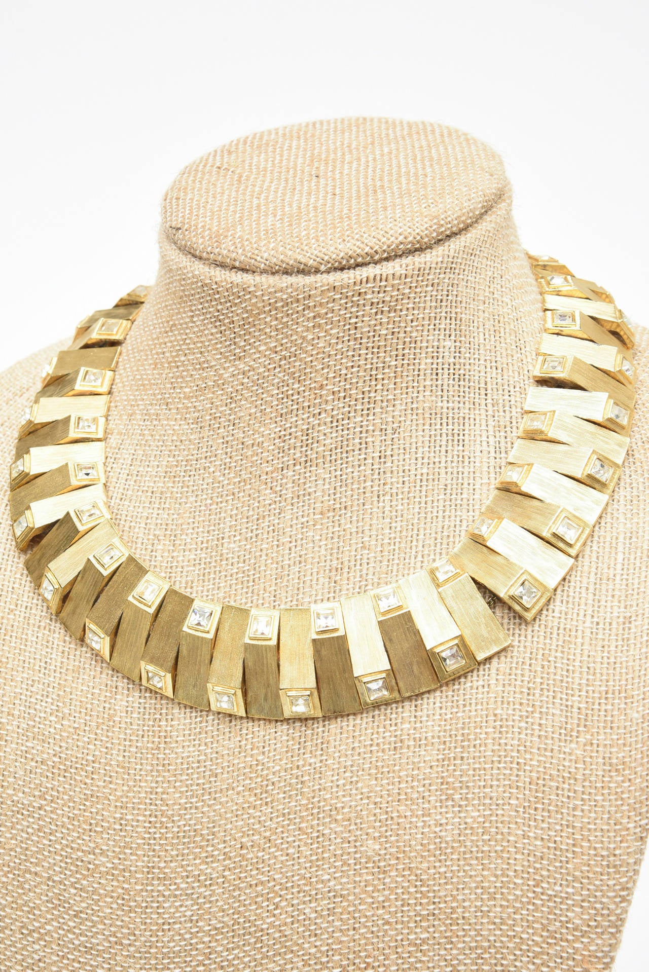 Modern Satin Brushed Gold Plated Metal with Rhinstone Reticulated Collar Necklace For Sale