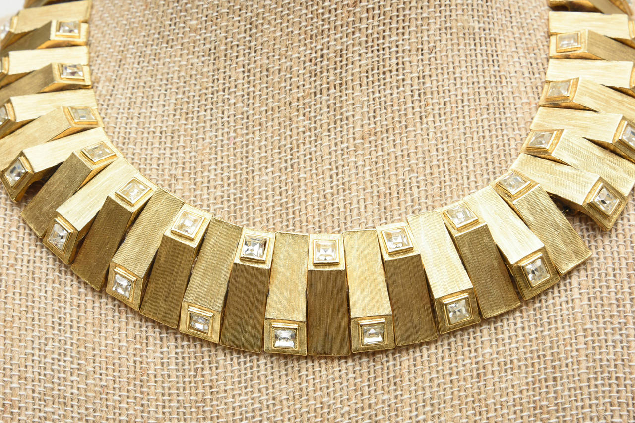 Satin Brushed Gold Plated Metal with Rhinstone Reticulated Collar Necklace In Excellent Condition For Sale In North Miami, FL