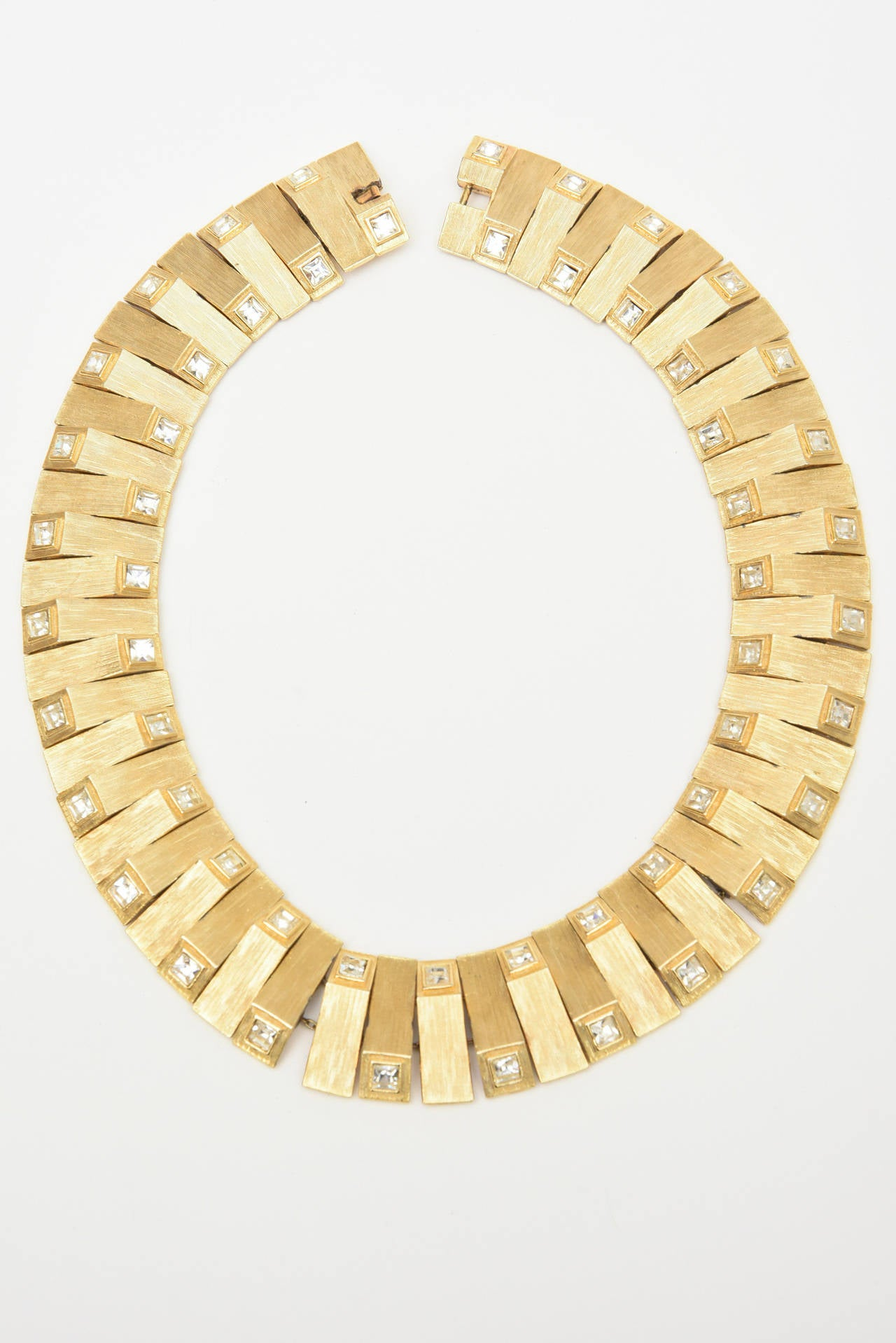 Women's Satin Brushed Gold Plated Metal with Rhinstone Reticulated Collar Necklace For Sale