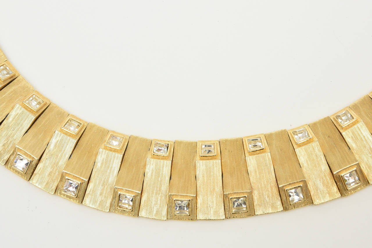 Satin Brushed Gold Plated Metal with Rhinstone Reticulated Collar Necklace For Sale 3