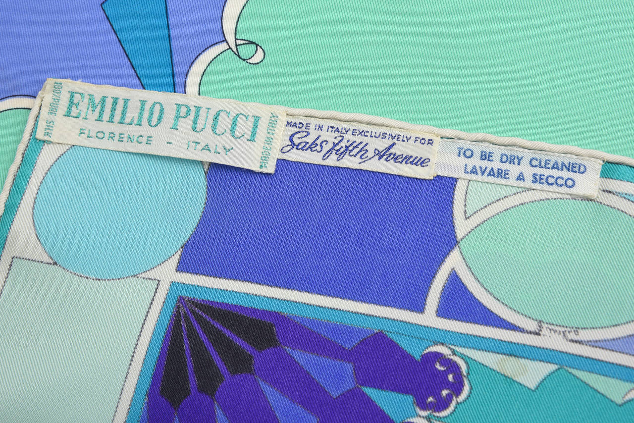 Emilio Pucci Purple, Turquoise, Green, Black and White Silk Scarf Vintage For Sale 1