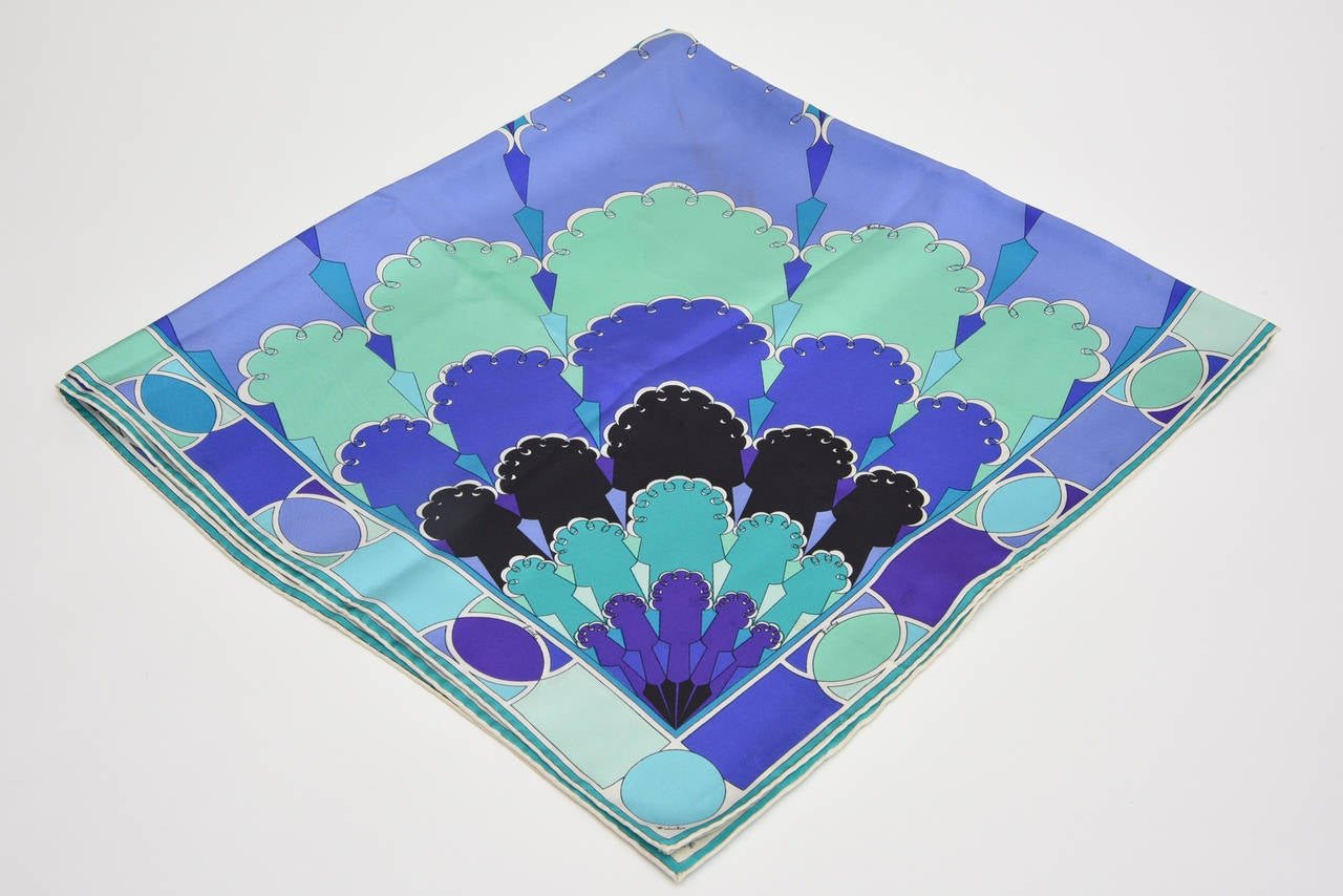 Emilio Pucci Purple, Turquoise, Green, Black and White Silk Scarf Vintage For Sale 2