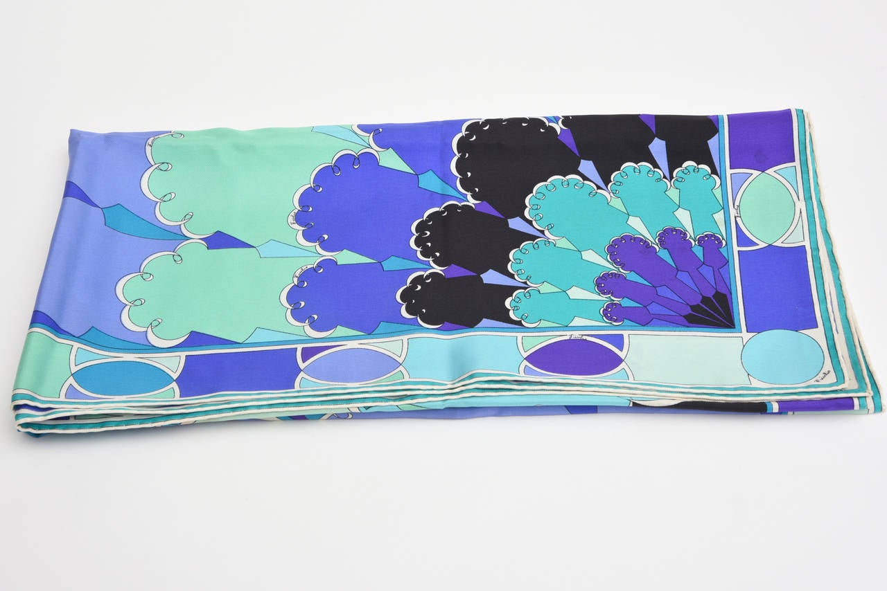 Emilio Pucci Purple, Turquoise, Green, Black and White Silk Scarf Vintage For Sale 3