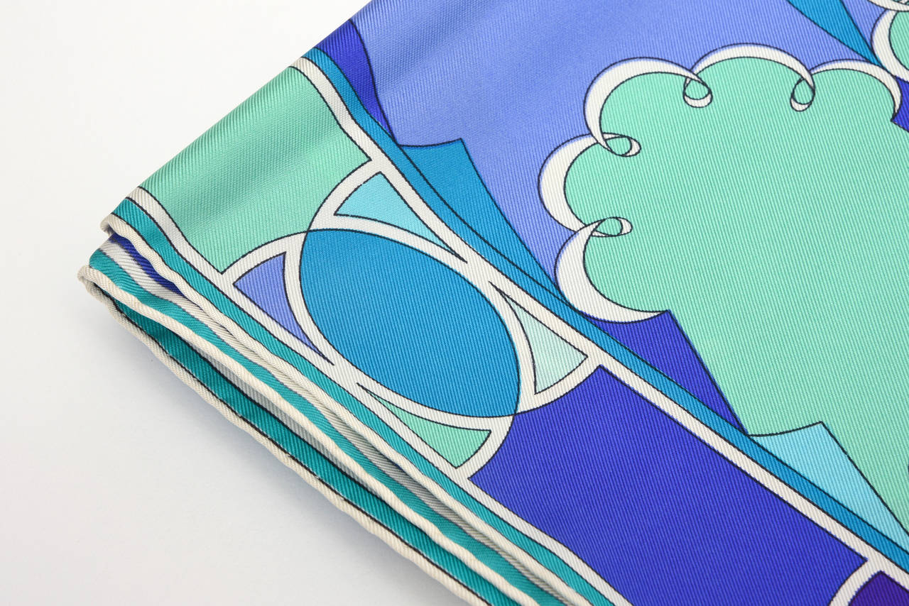 Emilio Pucci Purple, Turquoise, Green, Black and White Silk Scarf Vintage For Sale 5