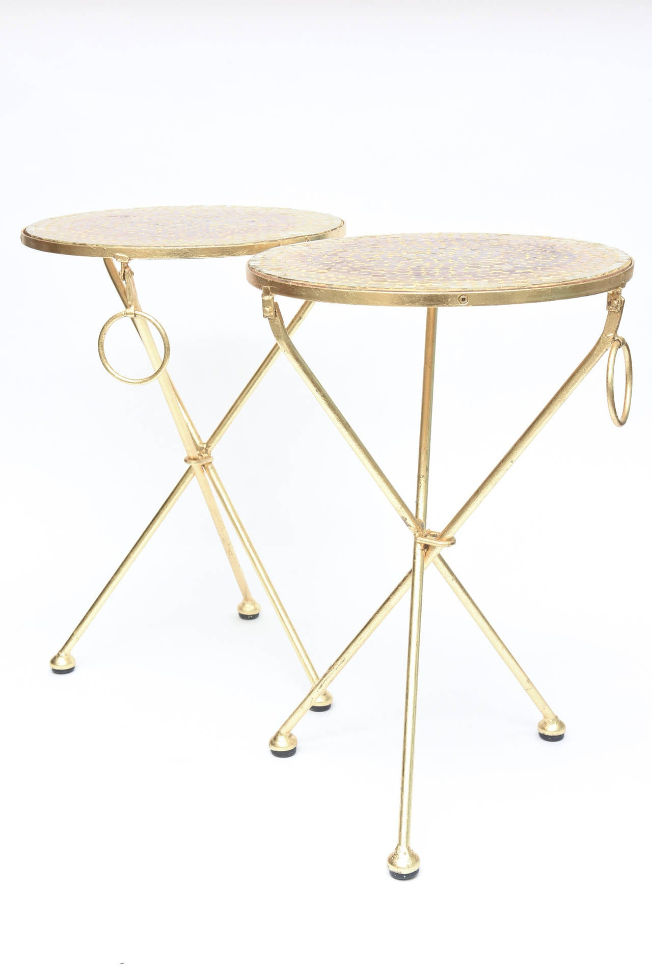 Pair of Italian Vintage Gold Leaf and Mosaic Glass Tripod Side Tables For Sale 1