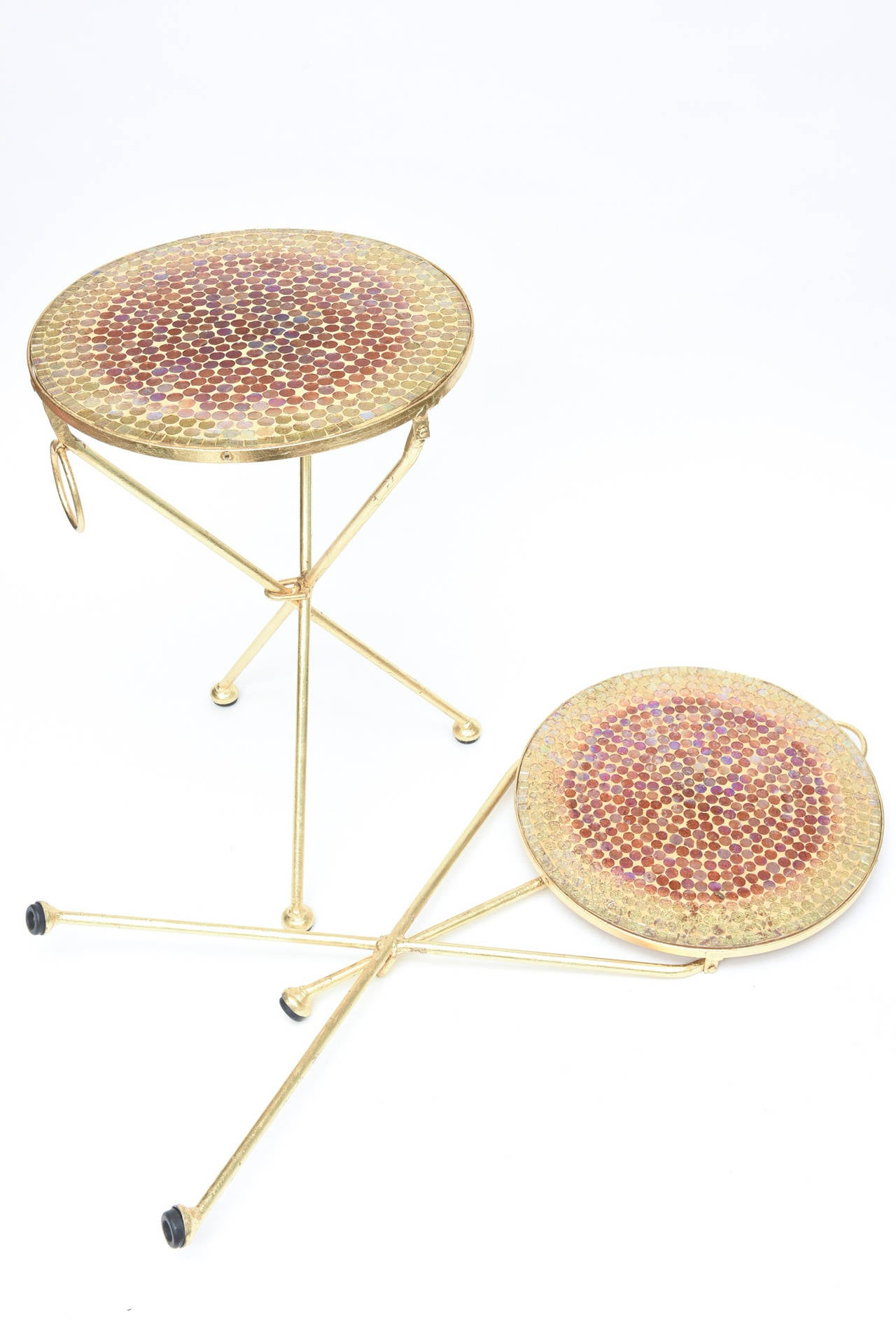 Pair of Italian Vintage Gold Leaf and Mosaic Glass Tripod Side Tables For Sale 3