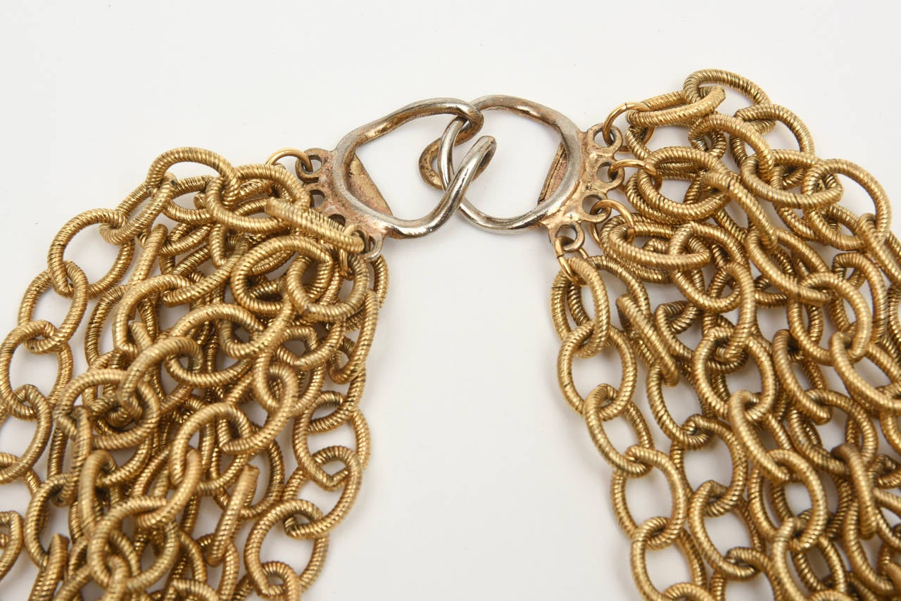 Modern  8 Row Chain Necklace Italian Vintage For Sale