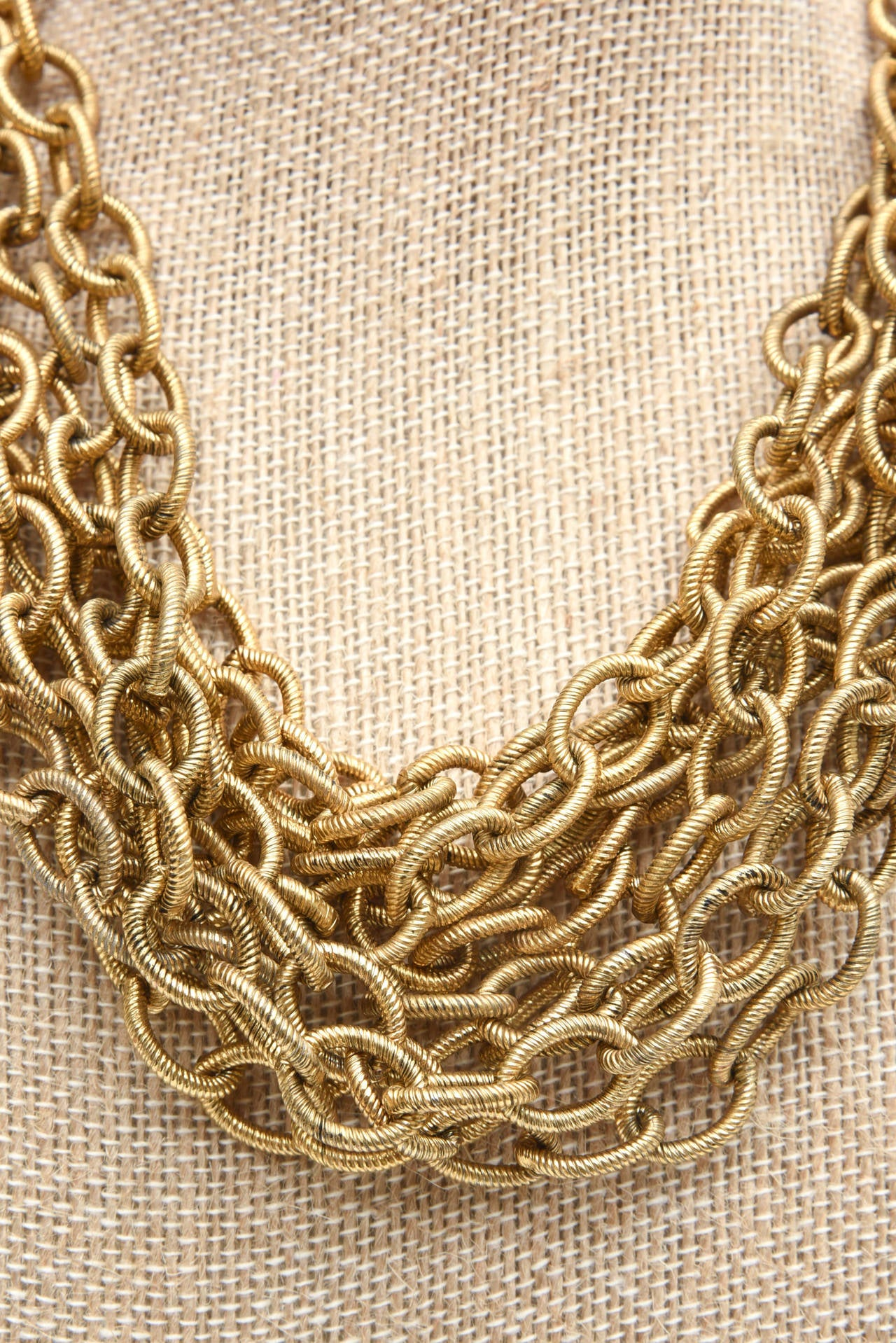 Women's  8 Row Chain Necklace Italian Vintage For Sale