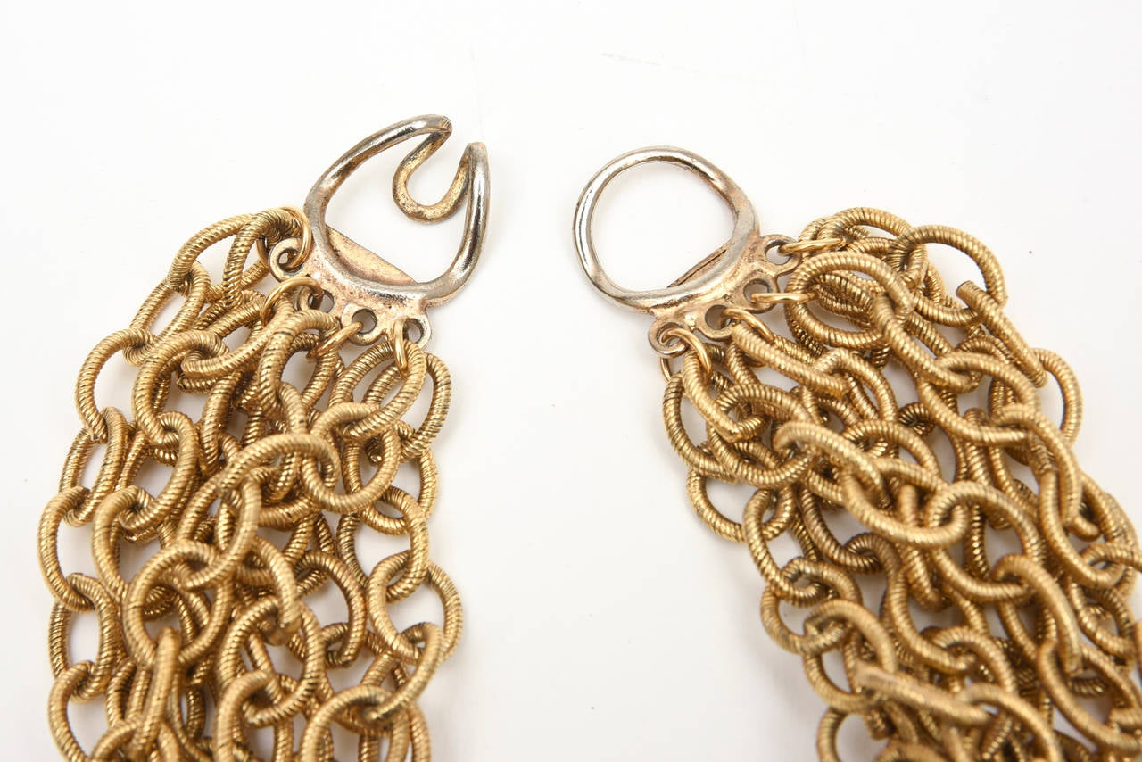 8 Row Chain Necklace Italian Vintage For Sale 2