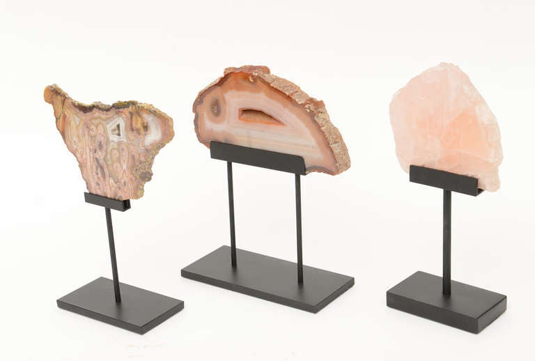 Mexican Three Rose Quartz and Agate Vintage Raw Stones Sculptures on Black Metal Vintage For Sale