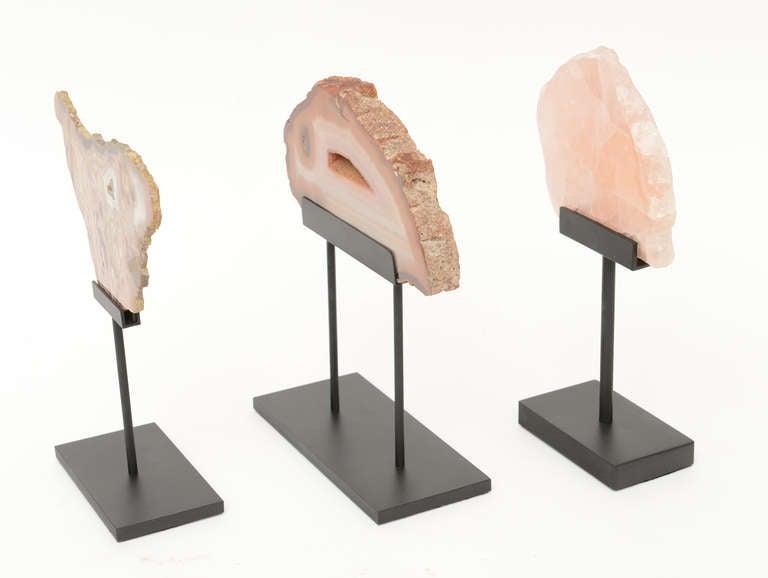 Organic Modern Three Rose Quartz and Agate Vintage Raw Stones Sculptures on Black Metal Vintage For Sale