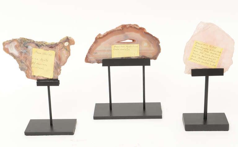 Mid-20th Century Three Rose Quartz and Agate Vintage Raw Stones Sculptures on Black Metal Vintage For Sale
