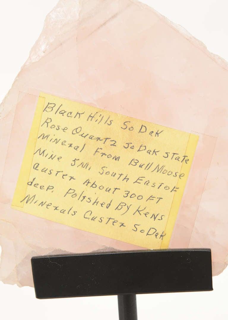 Three Rose Quartz and Agate Vintage Raw Stones Sculptures on Black Metal Vintage For Sale 1