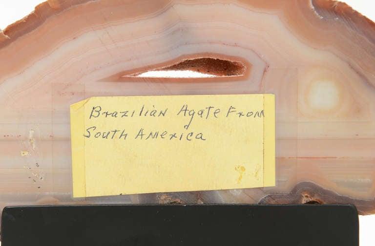 Three Rose Quartz and Agate Vintage Raw Stones Sculptures on Black Metal Vintage For Sale 2