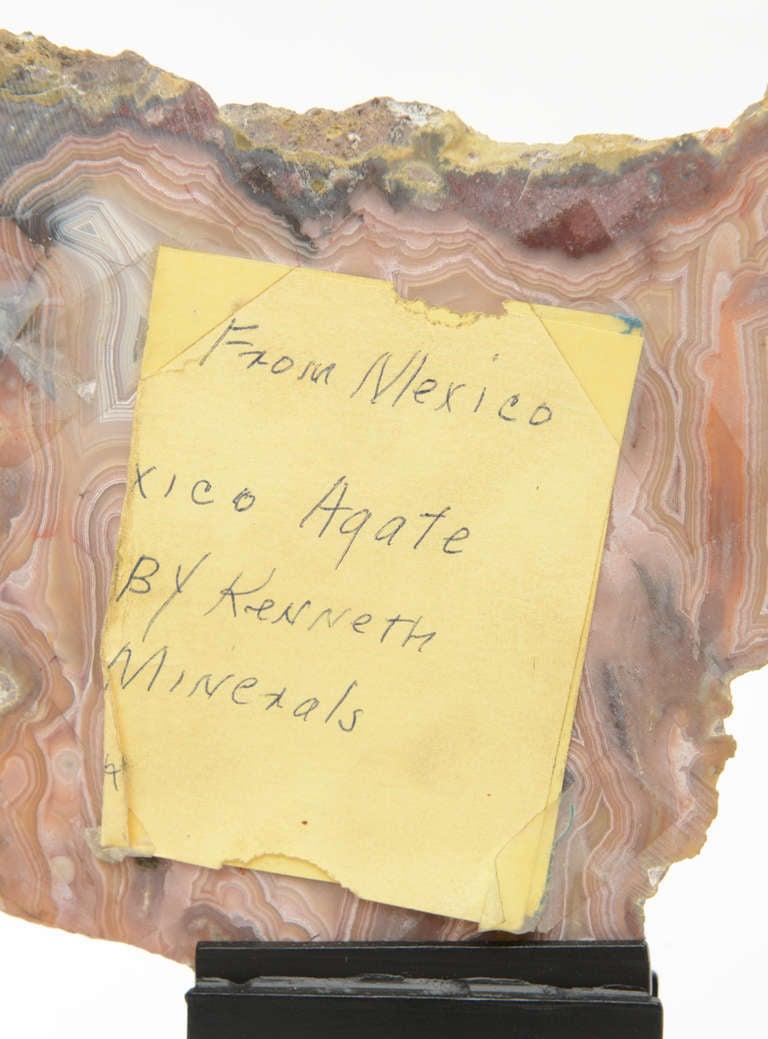 Three Rose Quartz and Agate Vintage Raw Stones Sculptures on Black Metal Vintage For Sale 3
